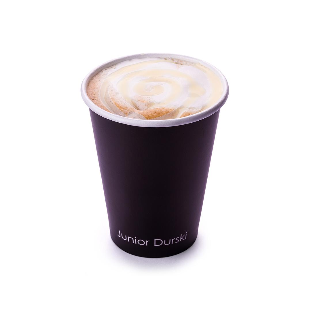 Cappuccino com Calda de Chocolate Branco e Leite Vegetal de Castanha M