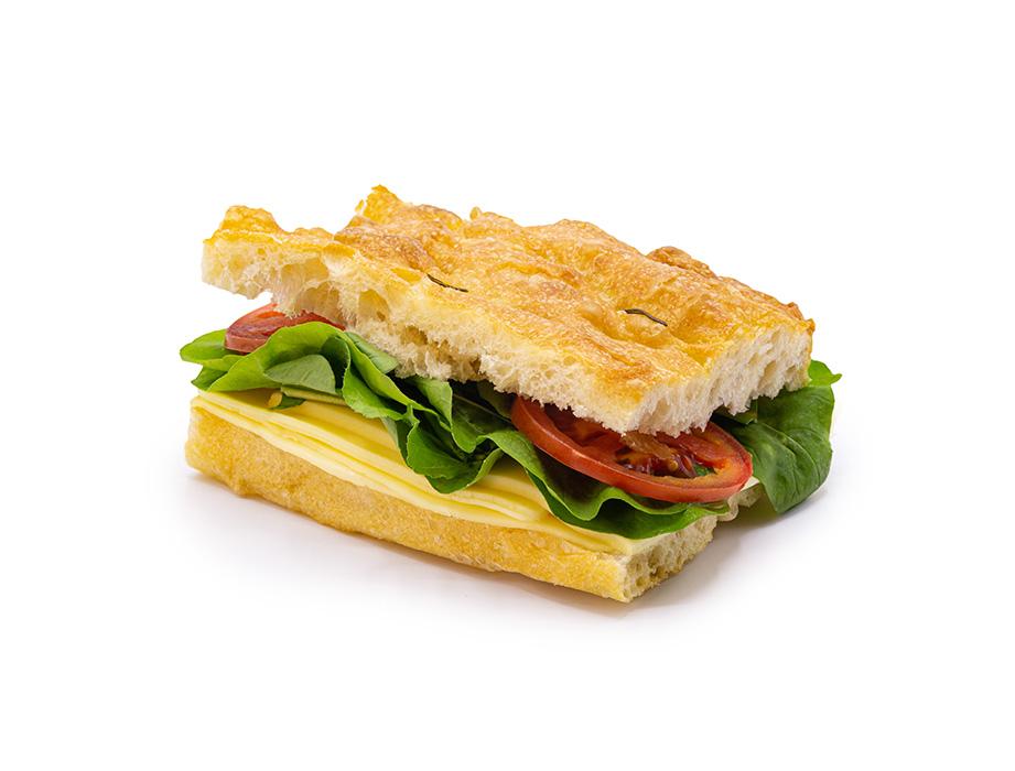 Sanduíche de Focaccia - Muçarela de Búfala com Tomate e Rúcula