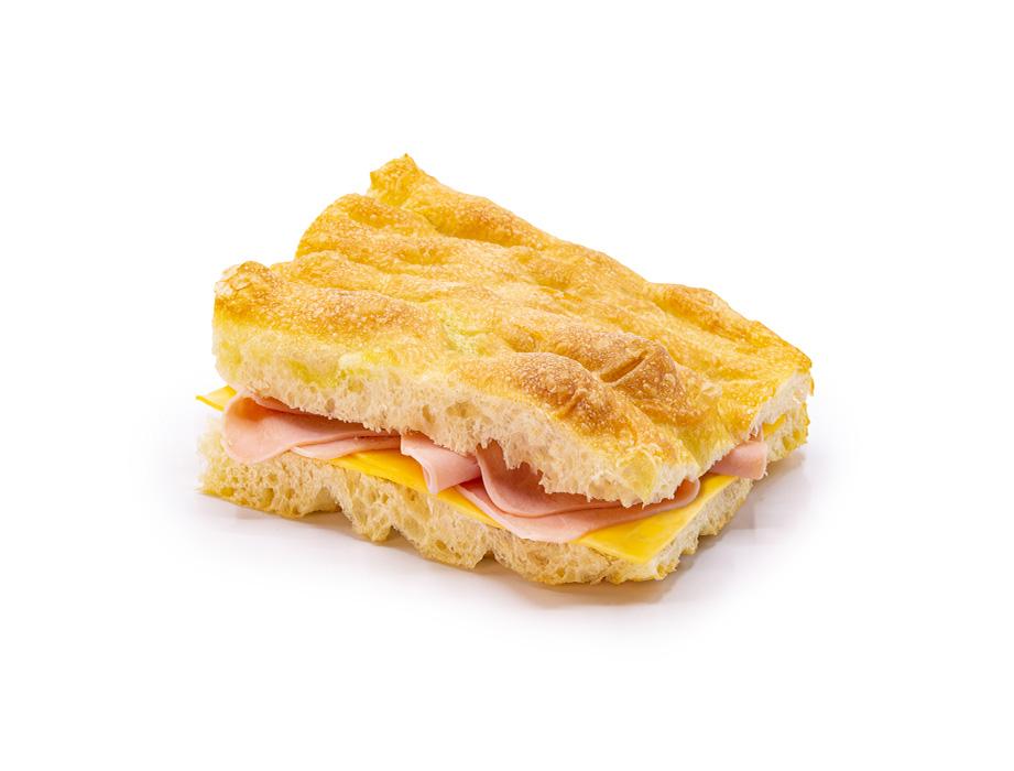 Sanduíche de Focaccia - Presunto e Queijo