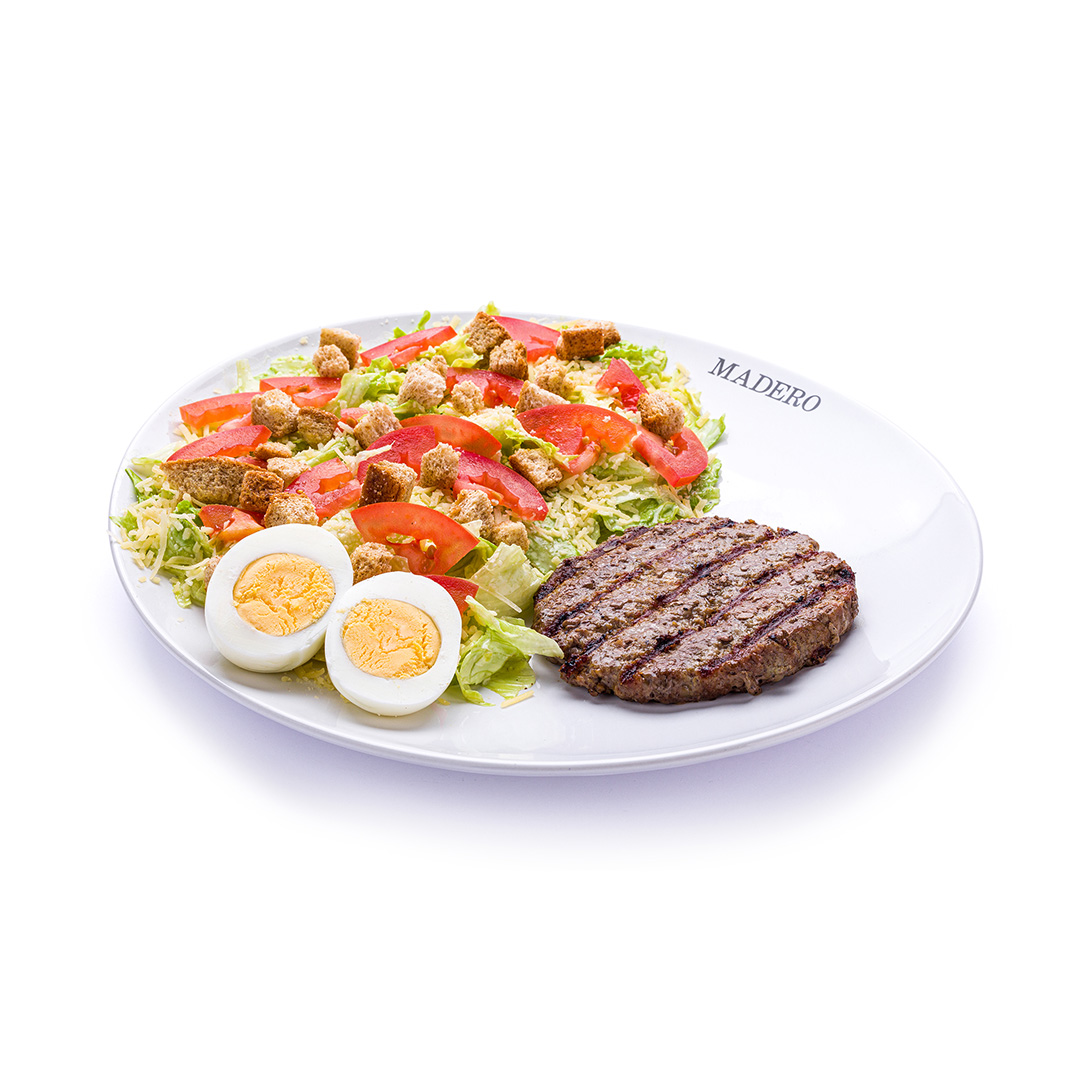 Caesar Salad com Hamburger